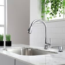 kraus single lever pull out kitchen faucet satin nickel kitchen