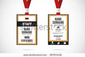 id card sle template event guest id card set lanyard stock vector 507074191