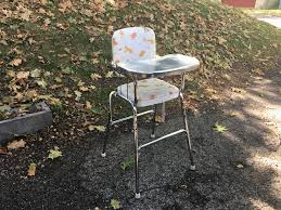 Vintage Cosco High Chair Chrome And White Vinyl Vintage High Chair Attainable Vintage