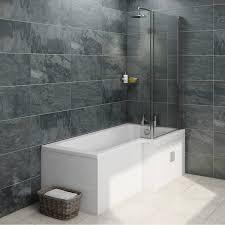 ellis water saving l shape shower bath right hand with storage