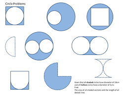 area and perimeter of circle based shapes problem solving by