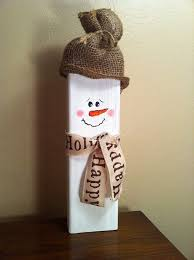 wooden snowman wooden snowman with burlap hat and ribbon scarf winter christmas