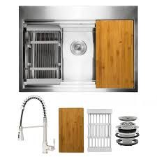 metal kitchen sink and cabinet combo akdy all in one drop in 33 in x 22 in brushed stainless steel single bowl 1 workstation kitchen sink all in one kit