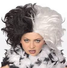 cruella deville costume spirit halloween amazon com women u0027s deluxe cruella deville costume wig clothing