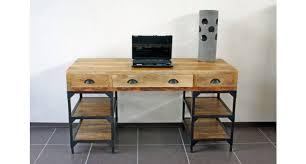bureau metal et bois bureau metal industriel affordable bureau style industriel design u