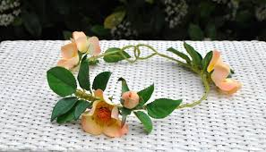 flower crown apricot roses and leaves hairband garland