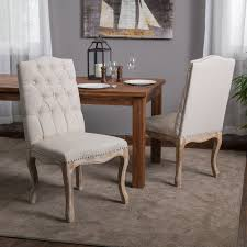 Tufted Dining Chair Set Christopher Home Beige Tufted Fabric Weathered Hardwood