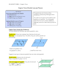 geometry notes chapter three parallel lines and planes d