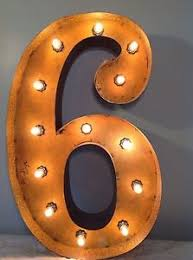 marquee numbers with lights 24 vintage marquee light number 6 rustic 24 free shipping ebay