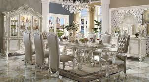 9 dining room set acme acme versailles 9 pedestal dining set in bone white