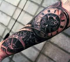 men sleeve old traditional pocket watch tattoo design idea