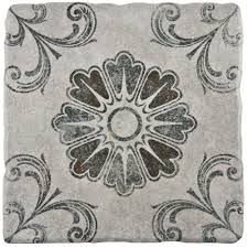 merola tile costa cendra decor fleur 7 3 4 in x 7 3 4 in ceramic