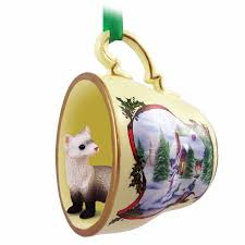 ferret tea cup snowman ornament