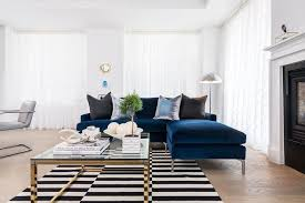 Blue And Black Rug Sapphire Blue Velvet Sofa With Chaise Lounge And Black And White