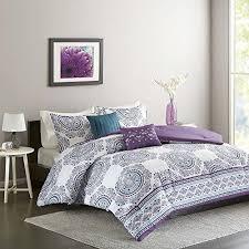 theme comforter 4pc purple blue medallion theme comforter xl set white
