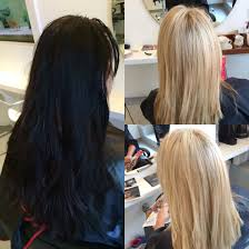 black hair to blonde hair transformations before and after black to blonde olaplex hair transformation