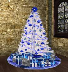 trees lights blue and white holidays wizard
