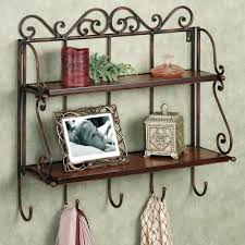 Wall Shelf Bathroom Metal Wall Shelf With Hooks
