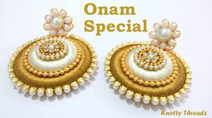 kerala style jhumka earrings onam special how to make earrings using silk thread at home