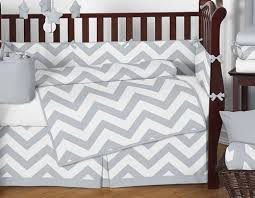 Zig Zag Crib Bedding Set Gray And White Chevron Zigzag Gender Neutral Baby Bedding 9