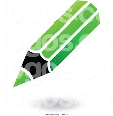 royalty free green and black pencil icon with shaddow logo by