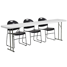 training chairs with tables flash furniture 18 x 96 plastic folding training table with 3 black