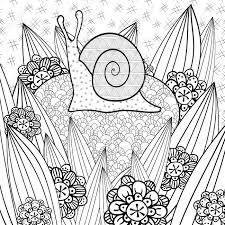 cute snail coloring book page snail in whimsical garden