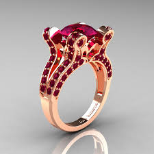 red gold rings images French vintage 14k rose gold 3 0 ct raspberry red garnet pisces jpg