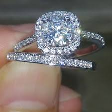 White Gold Cz Wedding Rings by Cubic Zirconia White Gold Engagement Rings Ebay