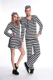 Halloween Jail Costumes Criminal Prisoner Jail Convict Inmate Stripe Men Women Halloween