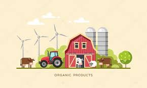 Tractor Barn Farming Background With Barn Windmill Tractor Cows And Sheep