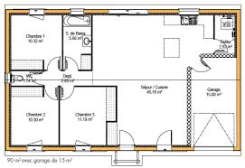 plan de maison 100m2 3 chambres plan de maison de 100m2 plein pied gw67 jornalagora