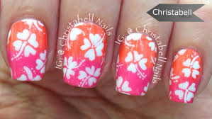 christabell nails hawaiian flowers nail art tutorial youtube