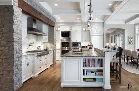 enchanting grey stone wall ideas for classic kitchen with white