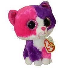 ty beanie boos pellie pink u0026 purple cat glitter eyes