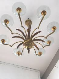 Plaster Chandelier by Italian Glass Disks Chandelier 1930s For Sale At Pamono