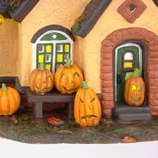 department 56 halloween village snow village halloween the pumpkin house set of 2 department