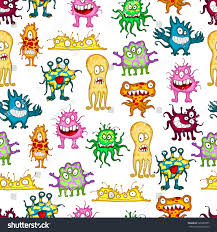 colored cartoon monsters seamless pattern white stock vector