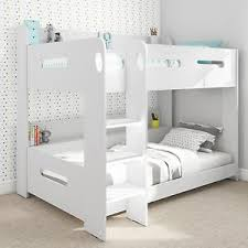 Modern Kids White Wooden Bunk Bed Storage Shelves EBay - Kids wooden bunk beds