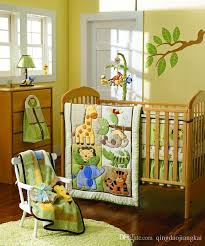 Baby Boy Monkey Crib Bedding Sets Giraffe Elephants Monkeys Jungle Animals Boy Baby Crib Bedding