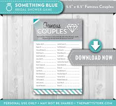 something blue famous couples bridal shower game the party stork