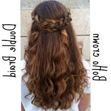 crown braid short hair half up half down
