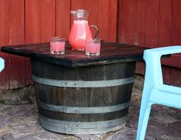 whiskey barrel side table running with scissors whiskey barrel side table