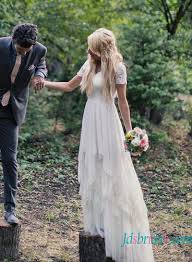 flowy wedding dresses h1535 bohemian flowy chiffon lace wedding dress