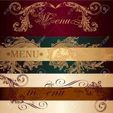 Classic Invitation Card Vector Set Of Invitation Cards Or Menu Design In Classic Style