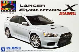 white mitsubishi lancer aoshima 08034 mitsubishi lancer evolution x 2009 model white pearl