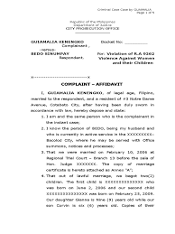 Child Support Contract Template Sample Complaint Affidavit For Violation Of Ra 9262 Marriage