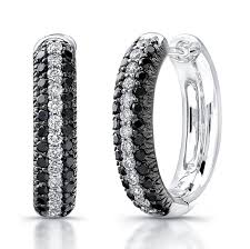 black diamond hoop earrings 14k white gold black and white pave diamond hoop e