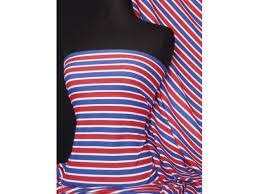 Flag Red White Blue Horizontal Stripes Easy Horizontal Stripe Cotton Interlock Fabric