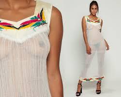 sun dress sheer white dress bohemian 70s embroidered cotton gauze ethnic